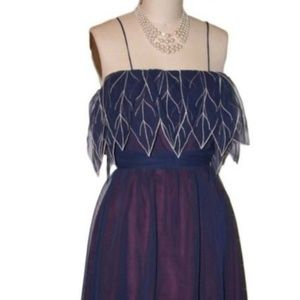 NAVY BLUE AND BURGUNDY VINTAGE DRESS, SIZE SMALL